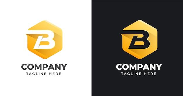 Buchstabe b logo design vorlage mit geometrischen form stil