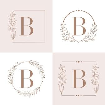 Buchstabe b logo mit blumenrahmenhintergrundschablone
