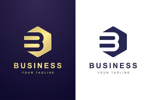 Buchstabe b-logo mit sechseck-formkonzept