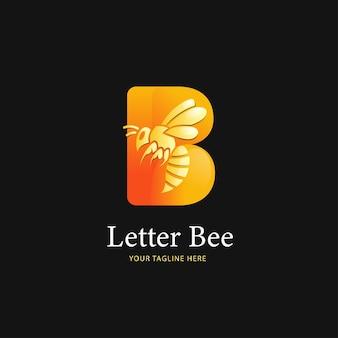 Buchstabe b-logo und biene-logo-design, logo-vorlage