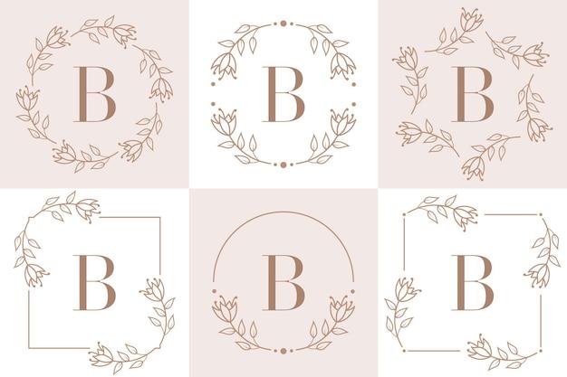 Buchstabe b logoentwurf mit orchideenblattelement