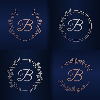 Buchstabe b mit blumenrahmenlogoschablone