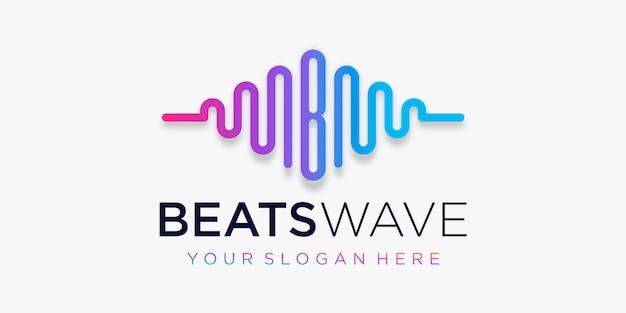 Buchstabe b mit puls. schlägt wellenelement. logo-vorlage elektronische musik, equalizer, laden, dj-musik, nachtclub, disco. audio-wellen-logo-konzept, thematische multimedia-technologie, abstrakte form.