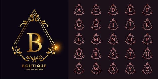 Buchstabe b oder sammlungsanfangsalphabet mit goldener logoschablone des luxuriösen ornamentblumenrahmens.
