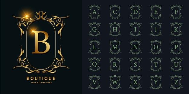 Buchstabe b oder sammlungsinitialalphabet mit goldener logo-schablone des luxusornamentblumenrahmens.