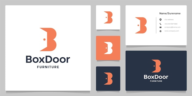 Buchstabe b türinnenraum abstrakter negativer raum einfaches modernes logodesign