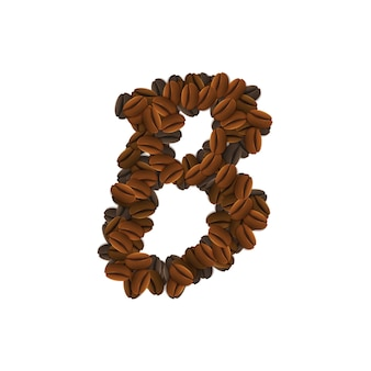 Buchstabe b von kaffeekörnern