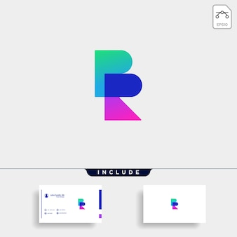 Buchstabe br rb rb logo design einfacher vektor elegant mit farbverlauf