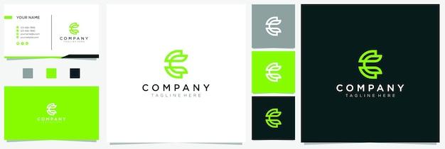 Buchstabe c blatt logo inspiration mit visitenkarte