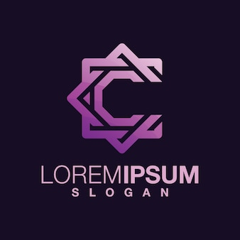 Buchstabe c farbverlauf logo-design