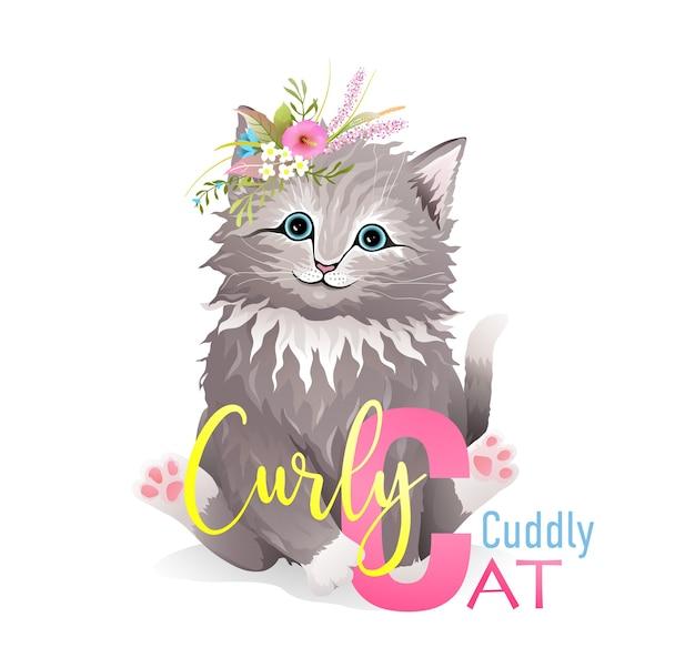Buchstabe c ist für katze. nettes tierbuchstabenalphabet für kinderbildungsprojekt. lustiges kätzchen, das buchstabe c darstellt, für das lernen von abc mit kindern. isolierte tierbeschriftungskarikatur.