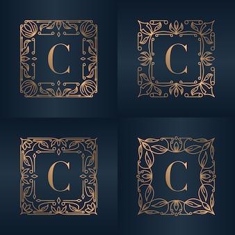 Buchstabe c mit blumenrahmen der luxusverzierung
