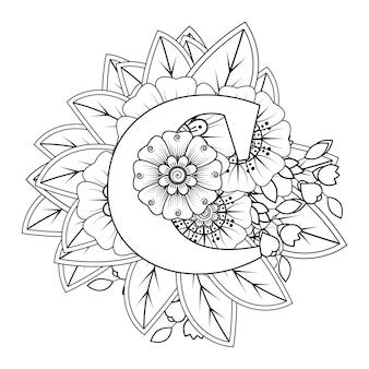 Buchstabe c mit dekorativem ornament der mehndi-blume im ethnischen orientalischen stil malbuchseite