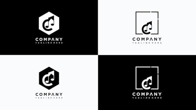 Buchstabe c musik logo design vektor premium-vektor
