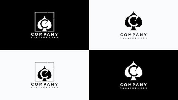 Buchstabe c poker logo design vektor premium-vektor