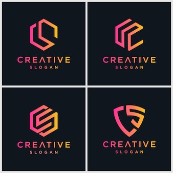 Buchstabe cs bundel logo Premium Vektoren