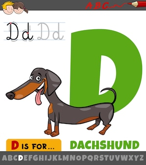 Buchstabe d arbeitsblatt mit cartoon dackel hund