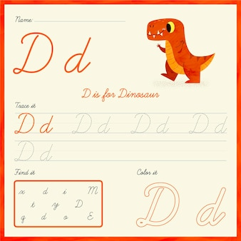 Buchstabe d arbeitsblatt mit dinosaurier