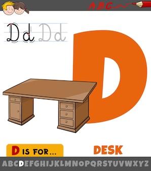Buchstabe d aus dem alphabet mit cartoon-schreibtisch