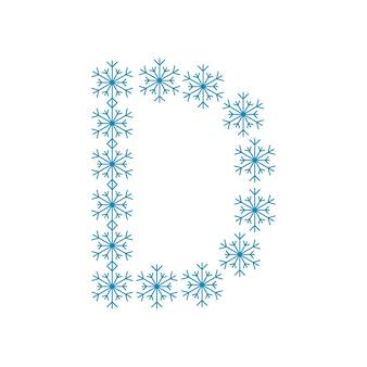 Buchstabe d aus schneeflocken. festliche schrift oder dekoration für neujahr und weihnachten