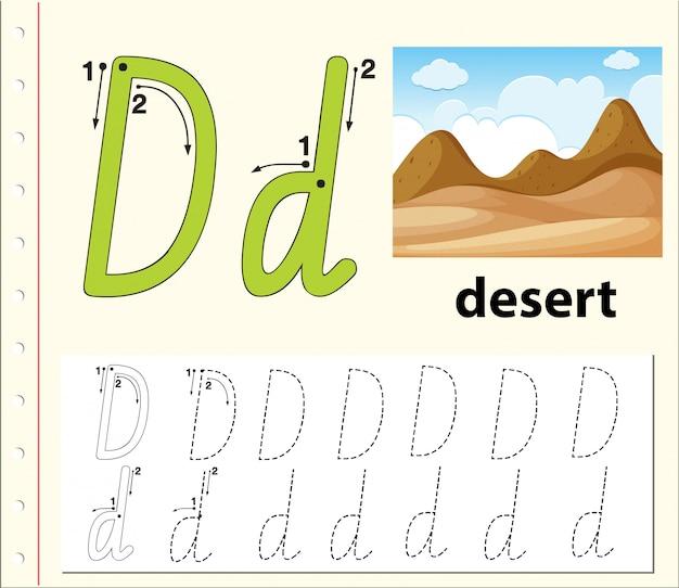 Buchstabe d bei der suche nach alphabet-arbeitsblättern