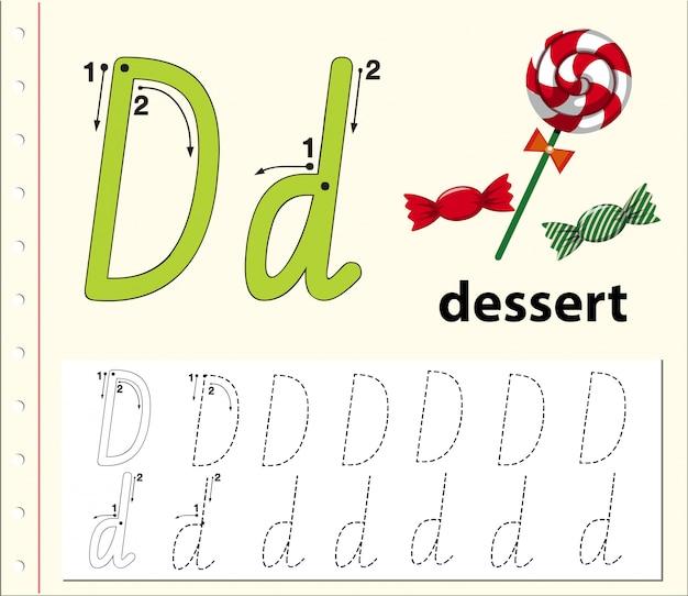 Buchstabe d, der arbeitsblätter für alphabet nachzeichnet