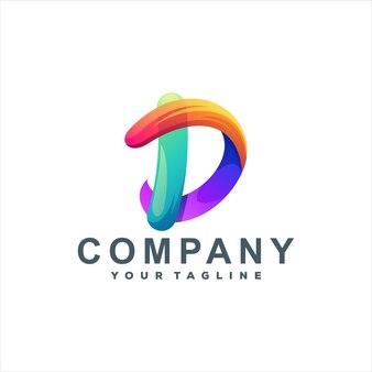 Buchstabe d farbverlauf logo-design