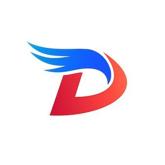 Buchstabe d initial mit flügel logo vorlage