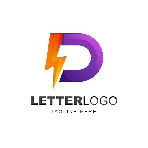Buchstabe d logo design mit thunderbolt energieform