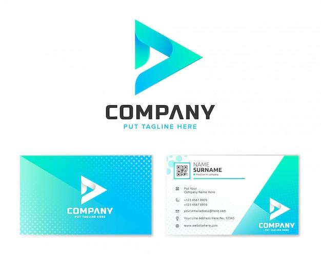 Buchstabe d logo mit briefpapier-visitenkarte