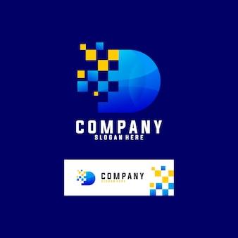 Buchstabe d mit pixel-technologie-logo