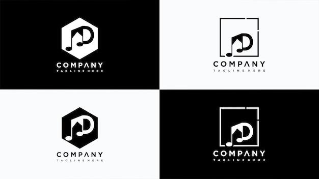 Buchstabe d musik logo design vektor premium-vektor