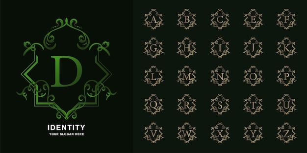 Buchstabe d oder sammlungsanfangsalphabet mit goldener logo-schablone des luxusornamentblumenrahmens.