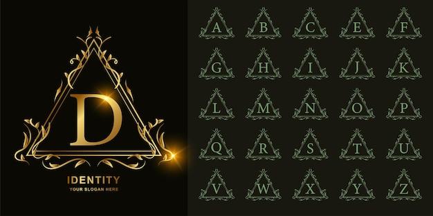 Buchstabe d oder sammlungsanfangsalphabet mit goldener logoschablone des luxuriösen ornamentblumenrahmens.