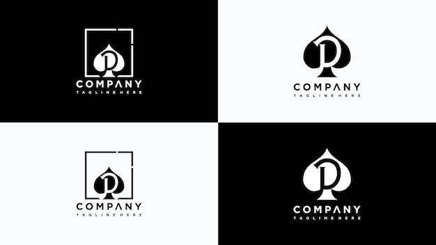Buchstabe d poker logo design vektor premium-vektor