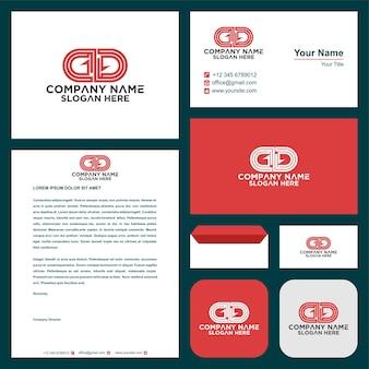 Buchstabe dd logo und visitenkarte