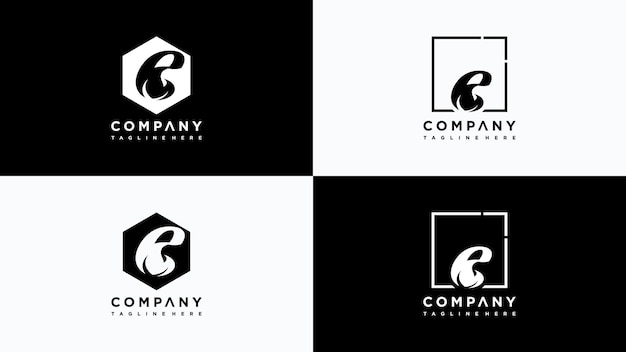 Buchstabe e blatt logo design vektor premium-vektor