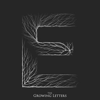 Buchstabe e des zweigs oder des geknackten alphabets.