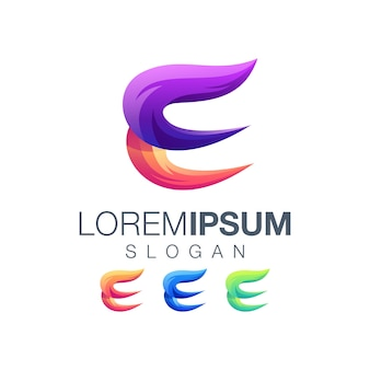 Buchstabe e farbverlauf logo-design