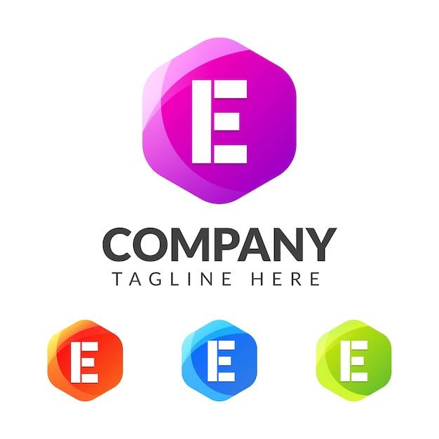 Buchstabe e logo mit buntem geometriedesign