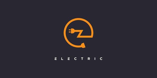 Buchstabe e logo mit modernem kreativem elektrischem konzept premium-vektor