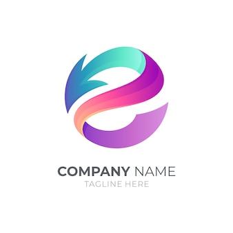 Buchstabe e logo mit pfeil