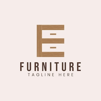 Buchstabe e mit logodesign-inspiration für das holzmöbelkonzept