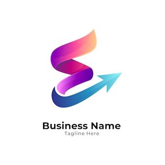 Buchstabe e mit pfeil-logo-vorlage