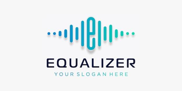 Buchstabe e mit puls-equalizer-element-logo-vorlage elektronischer musik-equalizer-shop dj-musik