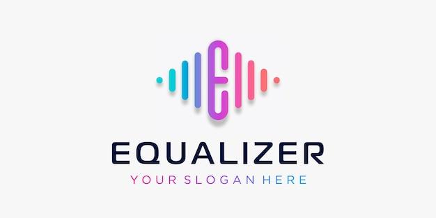 Buchstabe e mit pulse-musik-player-element logo-vorlage elektronischer musik-equalizer dj-musik