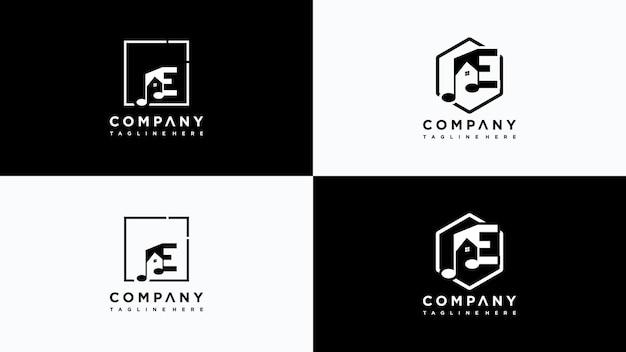 Buchstabe e musik home logo design vektor premium-vektor