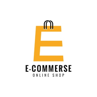 Buchstabe e online shop logo design vektor