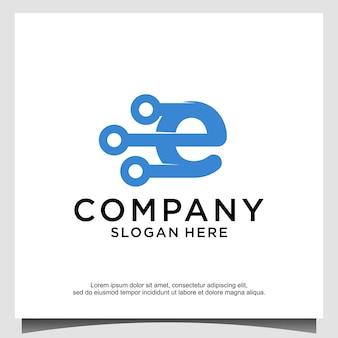 Buchstabe e tech logo design vektor