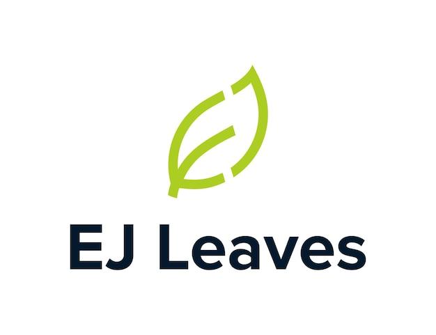 Buchstabe e und j mit blättern umreißen kreatives einfaches schlankes geometrisches modernes logo-design